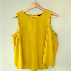 Ann Taylor mustard cold shoulder blouse